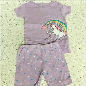 Carter's toddler girl purple pajama unicorn set 4t